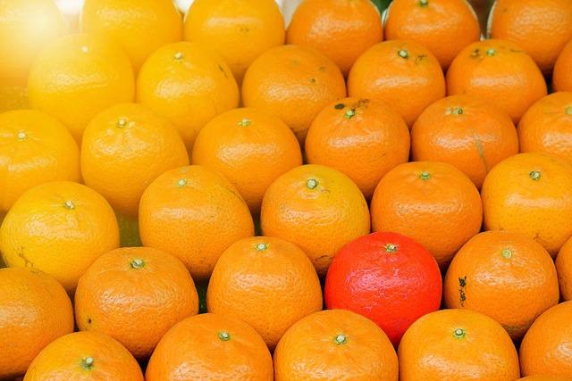 たくさん並ぶオレンジのなかで色が濃いオレンジが1つだけ目立っている